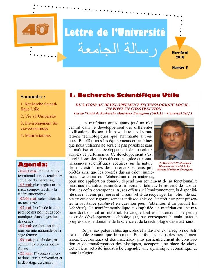 Bulletin d'information Avril 2018