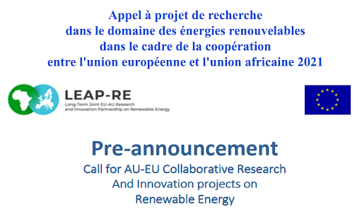 DGRSDT: Call for AU-EU Collaborative Research and Innovation Projects on Renewable Energy