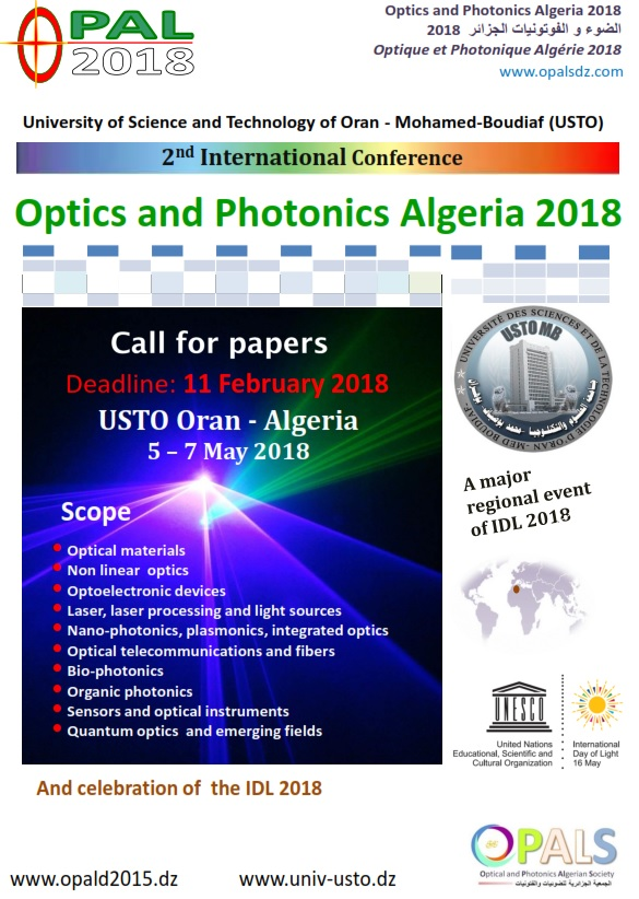 Call for papers OPAL 2018 (Optics and Photonics Algeria) USTO